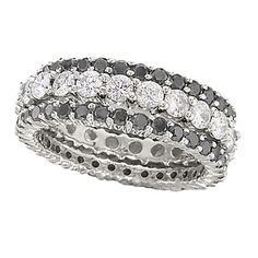 Black and colorless diamond stackable rings from Lieberfarb.  Very sleek.