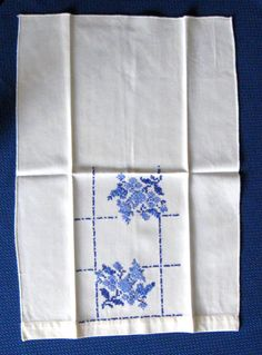 Hand Embroidered Guest Towel Tea Towel 3 Tone Blue Floral 1940s