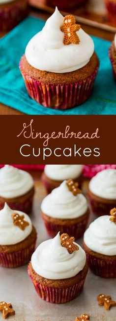 Spiced Gingerbread Cupcakes - with tangy, sweet cream cheese frosting. Moist and flavorful, these homemade cupcakes are the perfect treat during the holidays! Holiday Baking, Christmas Desserts, Christmas Treats, Christmas Baking, Christmas Gingerbread, Christmas Parties, Christmas Cupcake Flavors, Gingerbread Men, Meery Christmas