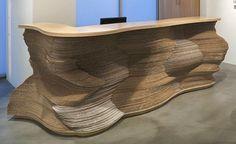 Cardboard Front Desk By Ball-Nogues Studio Cardboard Design, Cardboard Display, Cardboard Sculpture, Cardboard Crafts, Chalk Paint Desk, Karton Design, Living Room Decor Brown Couch, Architecture Design, Bar A Vin