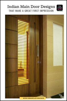Super Ideas for main entrance door design ideas Main Entrance Door Design, Wooden Main Door Design, Main Gate Design, Front Door Design, Entrance Doors, Door Entryway, Entrance Ideas, Pooja Room Door Design, Door Design Interior