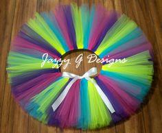 Neon Multi Color Tutu Neon Baby Tutu-Neon byJazzyGDesigns on Etsy #pittsburgh #handmade #ColorRun #Ravetutu #ravewear
