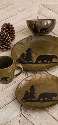Forest Bear Rustic Pottery Available in Red or Green Stoneware Dinnerware Sets, Modern Dinnerware, Rustic Dinnerware Sets, Tableware, Ranch Decor, Paint Your Own Pottery, Bear Decor, Lodge Decor, Pottery Making