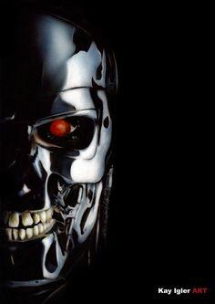 Terminator (Airbrush) by KayIglerART on DeviantArt T 800 Terminator, Terminator Movies, Skynet Terminator, Terminator Tattoo, Geek Movies, Sci Fi Movies, Movie Tv, Science Fiction, Fiction Movies