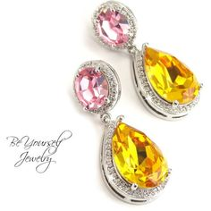 Pink Yellow Earrings Swarovski Crystal Light Rose Sunflower Bridal... ($63) ❤ liked on Polyvore featuring jewelry, earrings, black, weddings, yellow earrings, tear drop earrings, bridal earrings, sterling silver rose earrings and holiday earrings