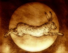 Leaping Hare. Drypoint