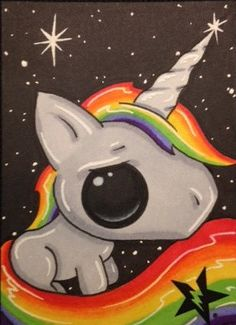 Sugar Fueled Rainbow Unicorn Pony lowbrow pop by Sugarfueledart