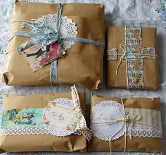 pretty wrappings with brown paper and string.