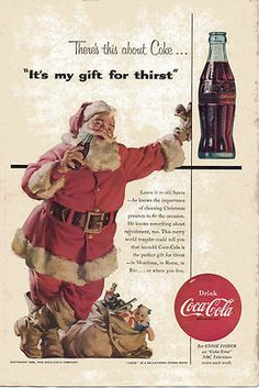 Items similar to Vintage Christmas Coke Ad - 1954 Santa Claus with Bag of Toys - Haddon Sundblom - Cold Coca Cola Holiday Illustration Print Art Wall Decor on Etsy Coca Cola Poster, Coca Cola Ad, Always Coca Cola, Pepsi, Coke Santa, Coca Cola Santa Claus, Santa Clause, Coca Cola Vintage, Vintage Christmas