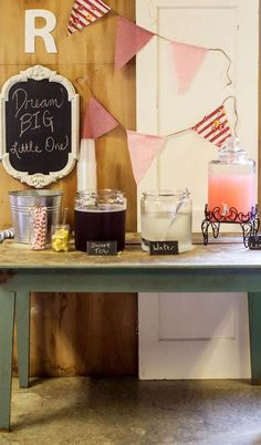 Vintage Picnic Birthday Party Drink Station!  See more party planning ideas at CatchMyParty.com!