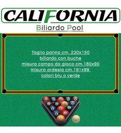 California Panno per biliardo. Taglio panno cm.230x150 per biliardo Pool 6 piedi con buche, misure  campo  da gioco cm.180x90 misura ardesia cm.191x99