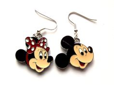 Classic Disney -Mickey and Minnie Mouse- Charm. Earrings.