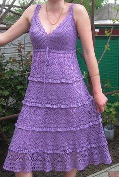 Free Crochet Dress Patterns for Women | Purple Dress free crochet graph pattern