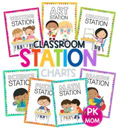 Free preschool charts for classroom organization. Great for labeling stations and different learning centers in your homeschool, daycare, or preschool classroom. Reading Stations, Writing Station, Math Stations, Preschool Charts, Free Preschool, Preschool Classroom, Learning Centers, Classroom Organization, Homeschool