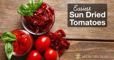 These Homemade Sun Dried Tomatoes are a cinch to make and add pizazz to any savory dish - pastas, pizza, savory muffins - and they& great right out of the bag! Raw Food Recipes, Veggie Recipes, Italian Recipes, Make Sun Dried Tomatoes, Grow Tomatoes, Best Pickles, Slow Roasted Tomatoes, Savory Muffins, Homemade Pickles