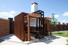 Pergola Against House Outdoor Pergola, Pergola Kits, Gazebo, Barbecue Original, Design Barbecue, Roof Panels, Garden Buildings, Outdoor Projects, Minimalism
