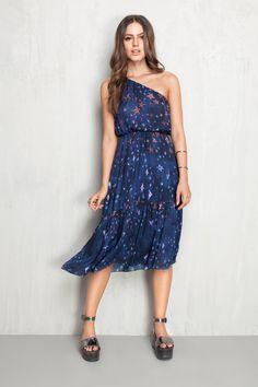 vestido um ombro estampado stardust | Dress to