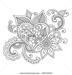 Floral ethnic doodle with heart pattern. Tribal illustration for coloring book. Black silhouette on white background. Mandala Coloring Pages, Coloring Book Pages, Printable Coloring Pages, Zentangle Patterns, Embroidery Patterns, Dibujos Zentangle Art, Free Adult Coloring, Indian Henna, Heart Patterns