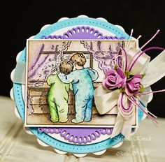 Michele Kovack created this cute card using Bedtime Kids Digital Stamp Set from Crafty Secrets with spellbinders and  copic markers