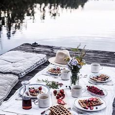 Can't help drooling over these pictures from our waffle gathering on a little dock on a lake far away in the Swedish woods last weekend. Just love these memories - and oh, just loved those waffles. Picnic Date, Best Espresso, Espresso Coffee, Jolie Photo, Photo Instagram, Instagram Travel, A Table, Summertime, Brunch