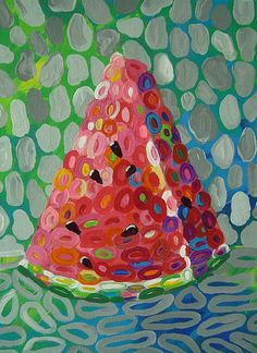 Colorful Watermelon Art PRINT from my original
