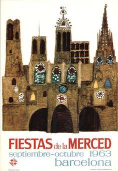 #Cartells #Franquisme #Festes_de_la_Mercè  #Barcelona Barcelona, Las Mercedes, Balearic Islands, Vintage Travel, Travel Posters, Illustration, Wall, Celebration, Exhibitions