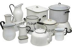 Vintage Kitchenware. I love enamelware.  I love it ALL!