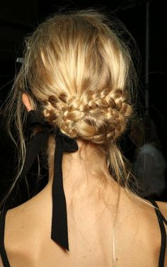 romantic braided hair with ribbon