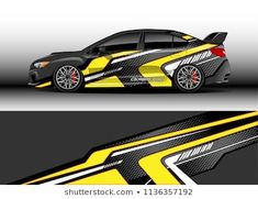 Car decal graphic vector, truck and cargo van wrap vinyl sticker. Graphic abstract stripe designs for branding, race and drift livery car Racing Car Design, Van Wrap, Steve Mcqueen, Car Painting, Car Decals, Stripes Design, Vinyl, Custom Cars, Race Cars