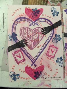 modern valentine made for upcoming free art friday distribution - created with hand carved rubber stamps