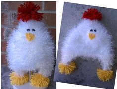 chicken hat. Love the fuzzy yarn for this!!