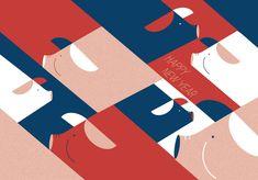 Carte de Nouvel An 2019 sur Behance New Year Card Design, Chinese New Year Design, Chinese New Year Poster, Chinese New Year Greeting, New Year Designs, New Years Poster, Happy Chinese New Year, New Year Illustration, New Year Art