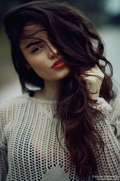 face it with a red lip & dark hair
