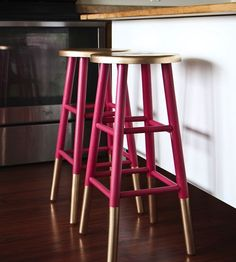 Make your bar stools pop with gold accents.
