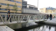 World's Weirdest Bridges (PHOTOS) | The Weather Channel-- The Rolling Bridge at Paddington Basin, London is the only one of its type known to be in existence. When extended, it resembles a typical steel and timber footbridge. When retracted to allow the passage of boats, the bridge curls up until its two ends join, forming an octagonal shape. (Wikimedia/Thomas Heatherwick)