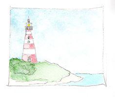 Vuurtoren waterverf watercolor sketch texel.