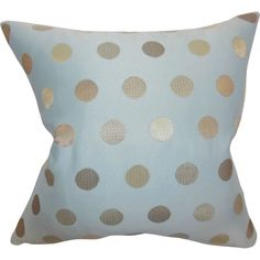 Showcasing a soft blue hue and classic polka-dot pattern, this lovely pillow is the perfect finishing touch for your living room sofa or guest bed. ...