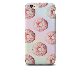 Donuts iPhone case (£4) ❤ liked on Polyvore featuring accessories, tech accessories, phone cases, phones, electronics, fillers, iphone sleeve case and iphone cover case