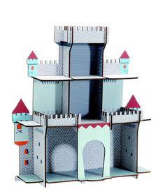 Djeco ~ Shelf ~ Knight's Citadel Cardboard Castle, Cardboard Toys, Kids Library, Library Design, Diy For Kids, Crafts For Kids, Château Fort, Wooden Shelves, Diy Toys