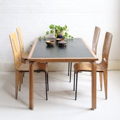 Fantastic table from noted Danish furniture house, Magnus Olesen. Designed by Rud Thygersen & Johnny Sørensen and made from beech and black mel...