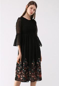 Dark florals are the loveliest way to serve up a boho chic look with vampy vibes. This chiffon dress serves up lovely cropped sheer sleeves with light ruffling and flowers at the hemline. Pair this dress with pointed toe ankle boots and a faux fur jacket.  - Semi-sheer chiffon fabric finished with flock dots - Floral embroidery on hem - Shirred elastic top part - Bell sleeves - Keyhole cutout with button to reverse - Lined - 100% Polyester - Hand wash cold  Size(cm)Length  Bust  Waist …