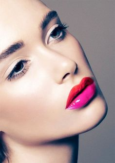 Two tone lips paired with white eyeshadow makes them more wearable via Merton Muaremi