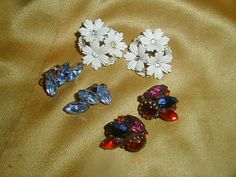 Vintage Designer Signed Earring Lot Kramer Juliana Navette Coro Fruit Salad Rhinestone Plastic Molded Art Glass