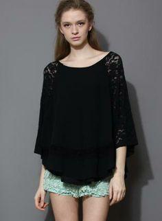 Black Lace & Chiffon Cape Top #lace #cape #top #ustrendy