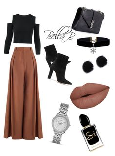 """""""Brown"""" by banbangotit on Polyvore featuring Zimmermann, Yves Saint Laurent, Gianvito Rossi, FOSSIL and Giorgio Armani"""