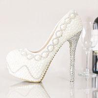 vrouwen witte ivoor bruiloft schoenen goedkope handgemaakte bruiloft bruids schoenen met hoge hakken pomp vrouwen parel strass bruids schoenen