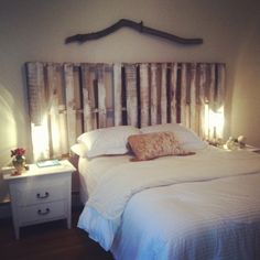 My pallet headboard. I made this headboard in a few hours paint and all. So easy and I really loved how it came out