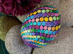 Mandala Stone, Rainbow, Spiral, Dot Painted Stone, Egg Shaped, River Stone, Hand Painted, by Kaila Lance, Meditation Stone, Gift Stone, Zen by KailasCanvas on Etsy