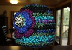 Crochet girls flower hat