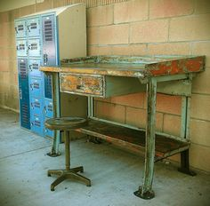 Vintage industrial desk workbench stool and lockers